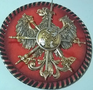 Vintage Eagle Coat of Arms Round Plaque with 8 Miniature Swords