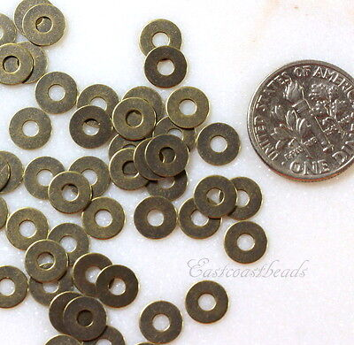 TierraCast Micro Washers, Embellishments, Antique Brass,  6.35mm, 100 Pcs, 7027