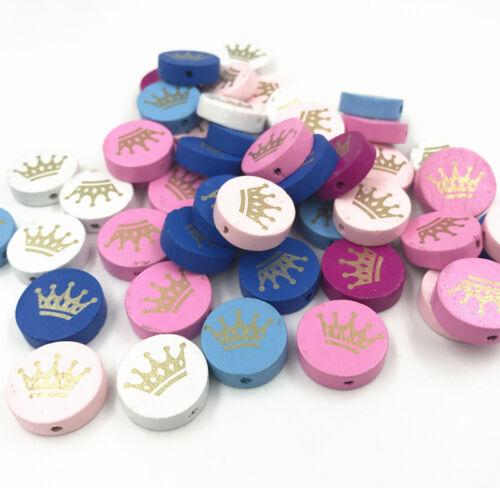 Krone Muster zum Fädeln Holzperlen Kinderspielzeug DIY Halskettenzubehör 20mm