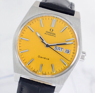 VINTAGE OMEGA GENEVE AUTO CAL1022 DAY&DATE YELLOW DIAL MEN