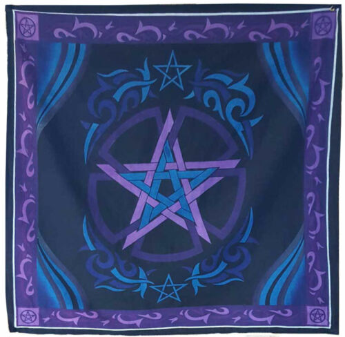 """NEW Blue and Purple Pentacle Altar Cloth 36"""" Cotton Pentagram Wall Hanging"""