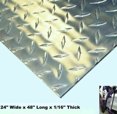 Aluminum Polished Diamond Plate 24 Wide X 48 Long X 116 Thick Alloy 3003
