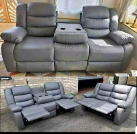 CHRISTMAS SALE ROMA RECLINER LEATHER 3+2 SOFAS WITH CUPHOLDERS