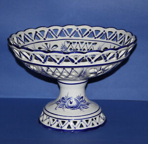 Beautiful Large Fruit/Accent Pedestal Bowl Cobalt Delft Portugal