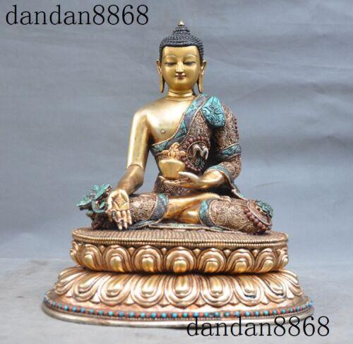Tibet Buddhism bronze 24k gold Gilt sakyamuni Shakyamuni Medicine Buddha Statue