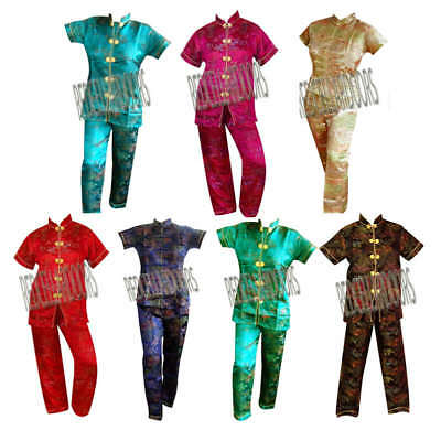 New Womens Black Chinese Toile Pajamas Set Short Sleeve Long Pants PJs Sz M  Black Short Sleeve Pajamas