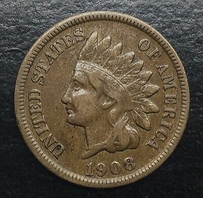 1908 S KEY DATE SAN FRANCISCO INDIAN HEAD CENT SOLID MID  GRADE COIN