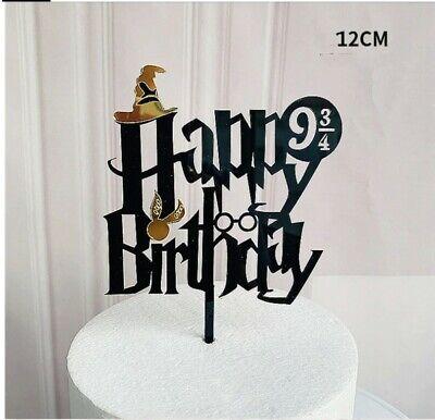 Happy Birthday topper Harry Potter Cake Topper Kuchenaufsatz schwarz Gold