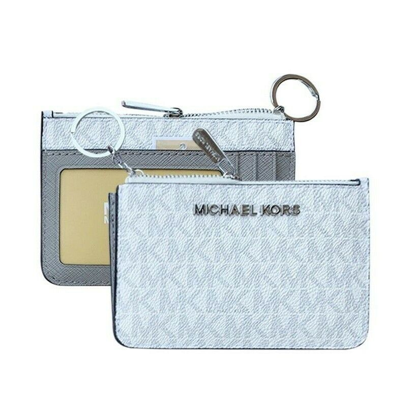 Michael Kors Jet Set Travel Small Top Zip Coin Pouch ID Holder Key Ring Wallet White/Gray