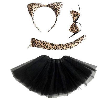 Mädchen Leopard KOSTÜM Verkleiden Fasching Karneval Dress Up 4 Teilig Halloween