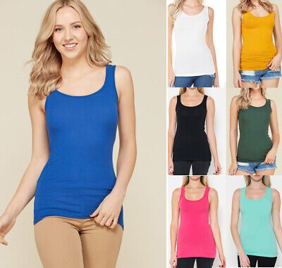 Women's Basic Solid Colors Tank Top COTTON Soft Knit Stretch Sleeveless Long S-L ()