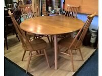 Vintage retro Blonde Ercol Table and Four Goldsmith Chairs