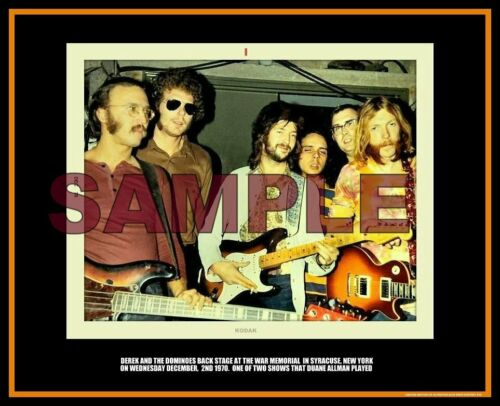 DUANE ALLMAN BROTHERS ERIC CLAPTON 8X10  COA BACKSTAGE 1970 DEREK & THE DOMINOES