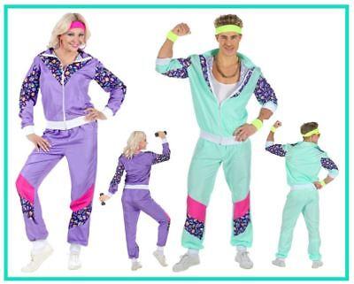 80er Jahre Retro Trainingsanzug Kostüm Proll Jogginganzug Karneval - Grünen Anzug Kostüme