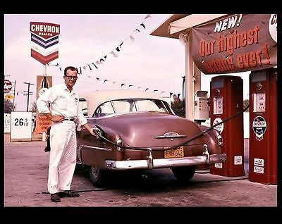 1950s Chevron Gas Station PHOTO Standard Oil Service Attendant Car Vintage Pumps