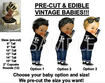 PRE-CUT 50's T Birds Black Leather Jacket Baby Boy EDIBLE Cake Topper Image afro - Baby T Bird Jacket