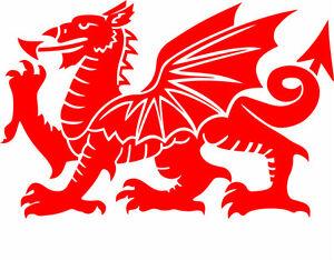 Welsh Dragon CYMRU Vinyl Car Window, Bumper Decal / Sticker / Graphic