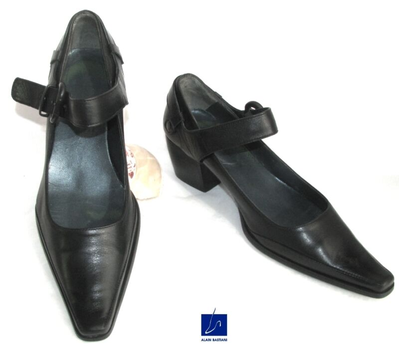 ALAIN BASTIANI - SHOES FLANGE ALL LEATHER BLACK 38 - VERY GOOD CONDITION