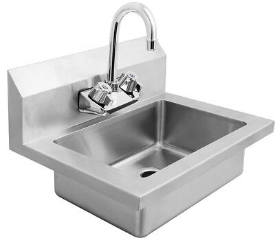 New Wide Wall Mount Hand Sink Stainless Steel W Faucet 14 W X 14.5 D Free Ship