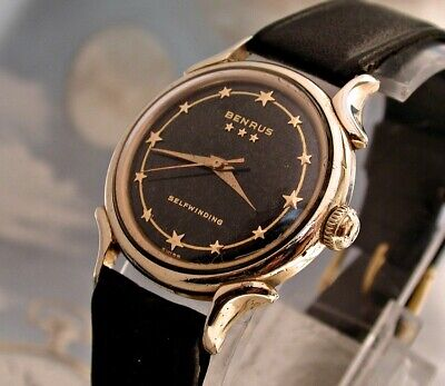 gent's vintage 3 star BENRUS with  star hour markers   ... a COOL watch!