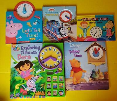 Telling Time Book Lot of 5-Dora, Winnie the Pooh, Thomas the Train, Peppa Pig,..