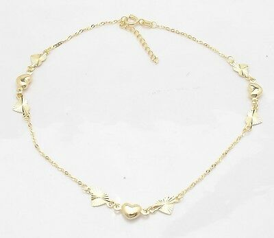 Adjustable Cable Chain Puffed Heart Ankle Bracelet Anklet Real 14K Yellow Gold  14k Gold Anklet