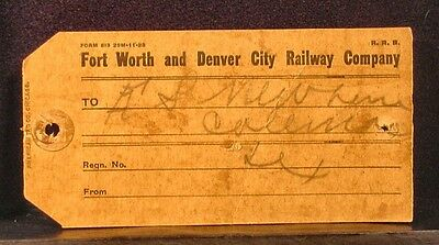 Fort Worth & Denver City Railway Company (Texas)/1923 SHIPPING TAG/Complete](Party City Fort Worth Texas)