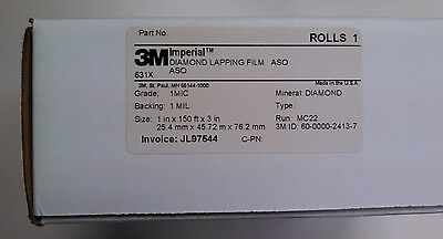 3m Diamond Lapping Film Roll 631x 1 Mic 1 Mil 1in X 150ft Precision Lapping