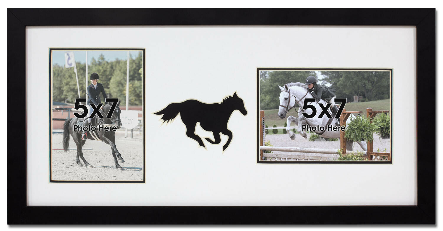 Double Photo Wall Hanging Equestrian Horse Frame Black Horse