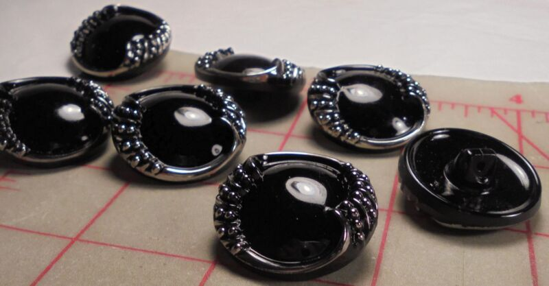 """2 Vintage Czech Glass Buttons Black Silver Rolled Edge Design 22mm 7//8/"""" 1021"""