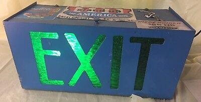 Vintage -old-green Lighted Exitmetal Boxed Sign