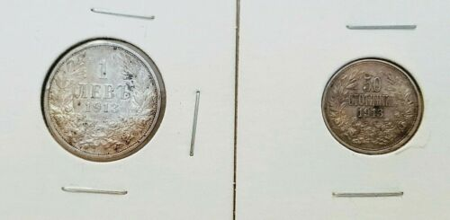 Lot of Two 1913 Silver Coins 1 Lev and 50 Stotinki Bulgaria King Ferdinand I