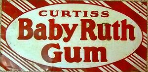 VERY-RARE-35-VINTAGE-BABY-RUTH-GUM-TIN-SIGN