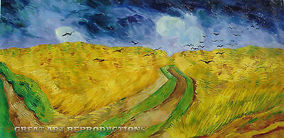 """Wheat Field Under Threatening Skies"", V. van Gogh, Reproduction in Oil, 60""x30"""