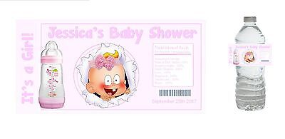 10 Baby Girl Shower Party Favors ~ Water Bottle labels Buy 3 get 1 free (bg6)](Buy Baby Shower Favors)
