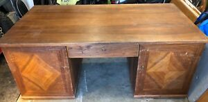 Antique high end veneered desk, needs refinishing, very large