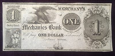 1 18   Merchants   Mechanics Bank Monroe Michigan Obsolete Note