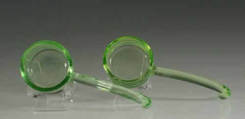 Set of 2 Vintage Depression Glass Green 5 Inch Ladles with Curved Handles c.1935