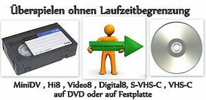 10 x vhs c hi8 video8 minidv auf dvd digitalisieren bis 245min ebay. Black Bedroom Furniture Sets. Home Design Ideas