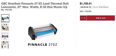 New Gbc Pinnacle 27 Ez Load Thermal Roll Laminator Nap Iii 27 W 120min.