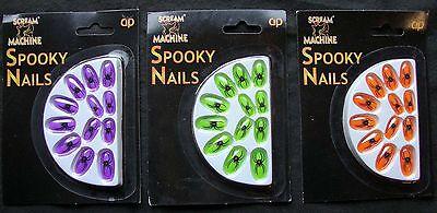 Halloween Fancy Dress Stick on Nails Neon Green or Orange Spider Design