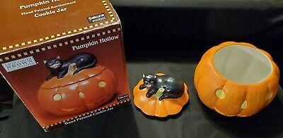 Sakura Halloween Pumpkin Hollow Cookie Jar With Black Cat David Carter Brown New