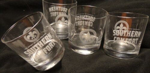 Set of 4 Southern Comfort - Heavy Based Rocks - Clear Drink Glasses....NEW