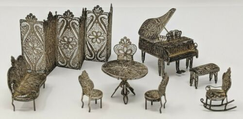 Vintage - Sterling Silver Filigree Dollhouse Miniature Continental Furniture Lot