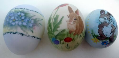 Lot 3 Vintage Decorative Bisque Flat  Easter Eggs Hand Painted Madelene 1976 98