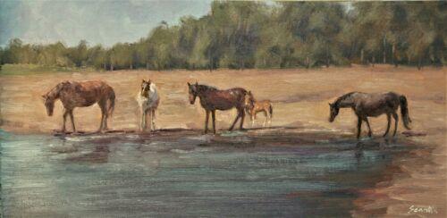 Sean Wu. Landscape, 12x24 original oil on stretched canvas, horses