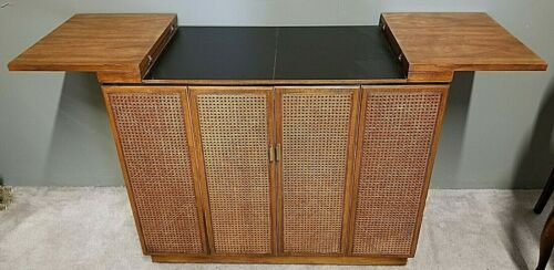 Vintage MCM DREXEL Cane Rolling Dry Bar Buffet Serving Cart Mid Century Modern