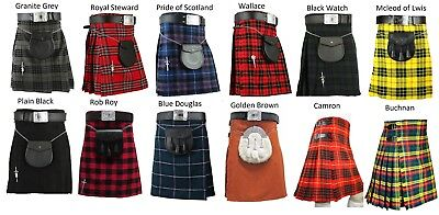 Men's 6 Yard Scottish Kilts Tartan Kilt 13oz Highland Casual Kilt 21 Tartans