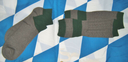 German Mens 2 Pc Trachten Socks With Loferl (Calf Warmer) Gray/Green 43/46  L/XL