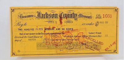 Harry Truman 1934 Stamped Signature Jackson County Missouri Check Vtg Free S/H